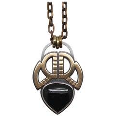 Handmade Silver, Brass and Onyx Unisex Metaalia Jewelry Scarab Amulet Necklace