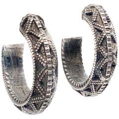 Hand Made silver Textured Design Hoop Earrings Pair
