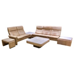 Handmade Swiss Neck-Leather Livingroom Set with Marble coffeetables by De Sede