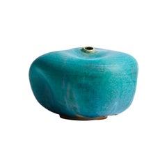 Hand Made Teal Blue Ceramic Vase / Interior Sculpture / Wabi Sabi Vessel