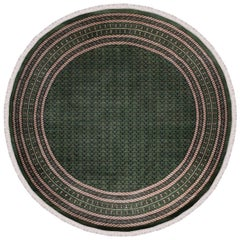Handmade Tribal Rug Navy Blue and Green with Cream Accents from India, Round