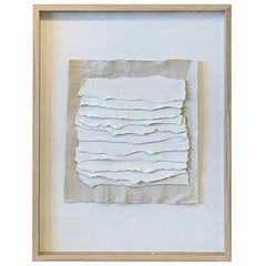 Handmade White Textured Porcelain Strips in Frame, France, Contemporary