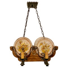 Hand-Made Wrought Iron and Carved Wood Porcelain Plate-Holder Chandelier