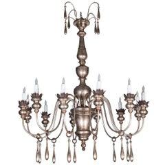 Handmade, Silver Gilt, Italian Chandelier
