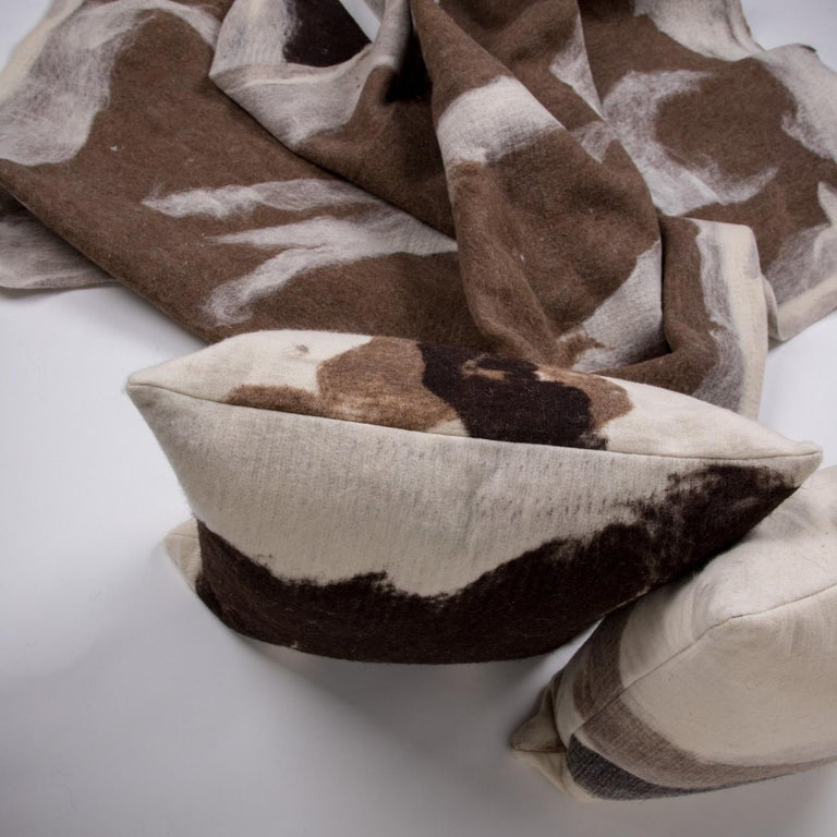Organic Modern Hand-Milled Artisan Wool Pillows and Rustic Throw, Tahoe Collection For Sale