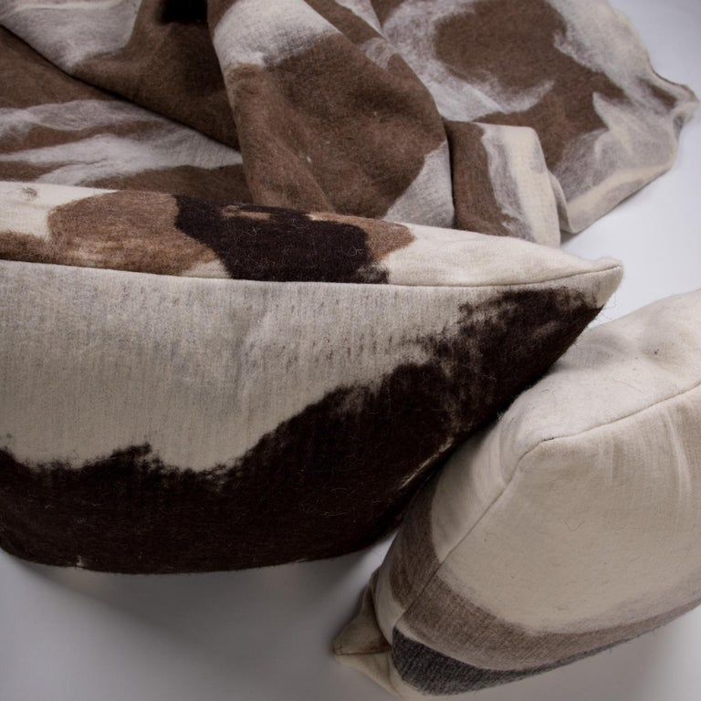 American Hand-Milled Artisan Wool Pillows and Rustic Throw, Tahoe Collection For Sale