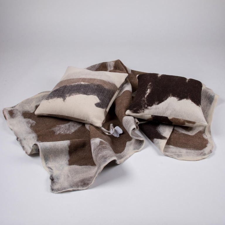 Hand-Crafted Hand-Milled Artisan Wool Pillows and Rustic Throw, Tahoe Collection For Sale