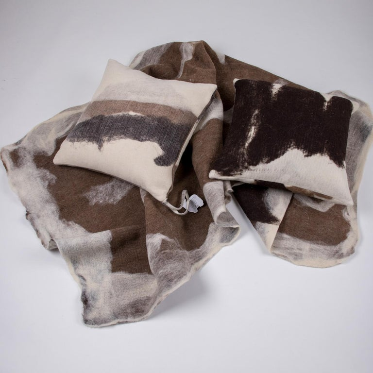 Hand-Milled Artisan Wool Pillows and Rustic Throw, Tahoe Collection In New Condition For Sale In Sebastopol, CA