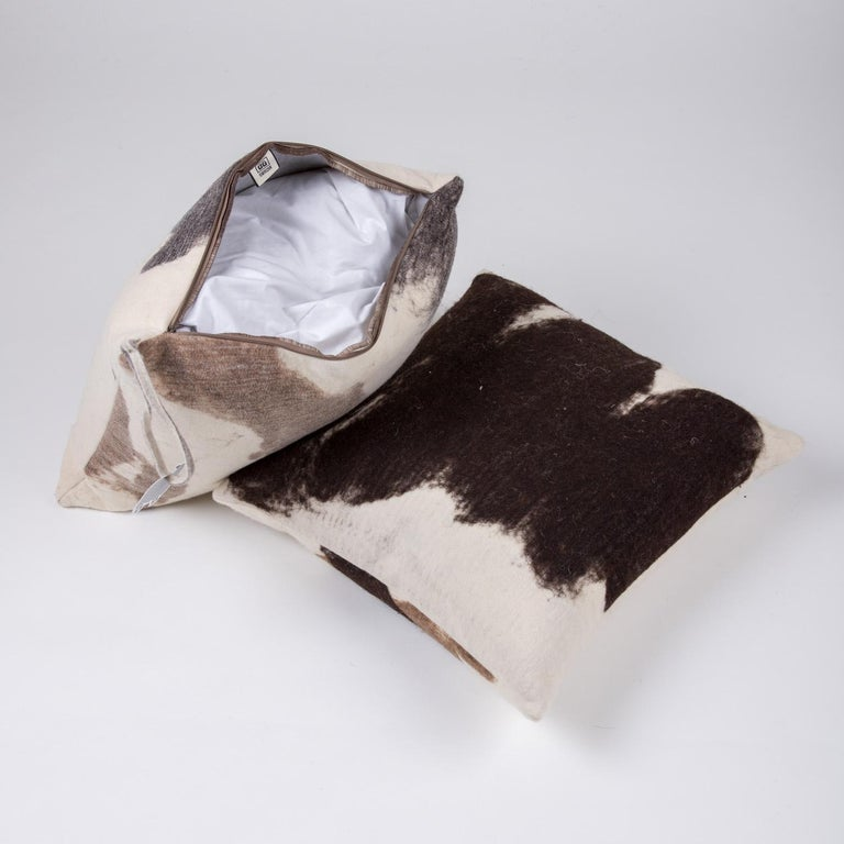 Contemporary Hand-Milled Artisan Wool Pillows and Rustic Throw, Tahoe Collection For Sale