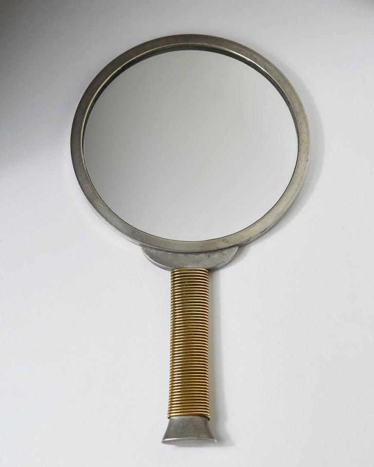 Scandinavian Modern Hand Mirror Designed by Estrid Ericson for Svenskt Tenn, Sweden, 1930s For Sale