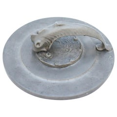 Hand Mirror in Pewter with Decor of Fish, Swedish Art Deco