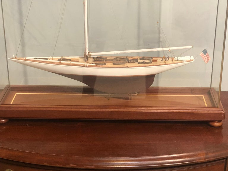 Hand Modeled Clipper Ship in a Glass and Bronze Case For Sale 4