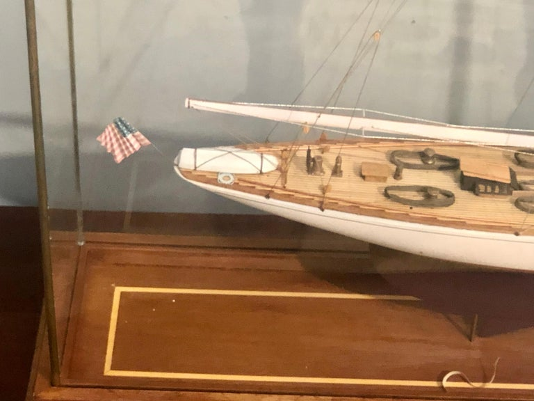 Hand Modeled Clipper Ship in a Glass and Bronze Case For Sale 6