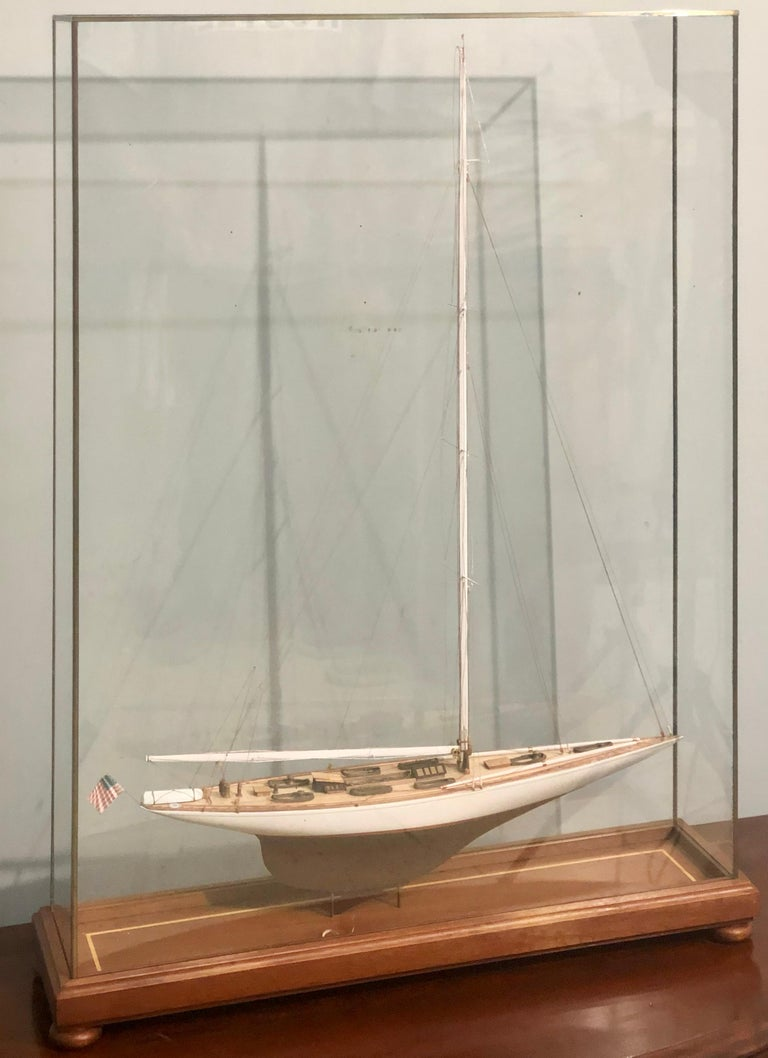 American Classical Hand Modeled Clipper Ship in a Glass and Bronze Case For Sale