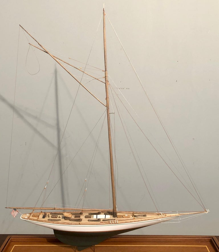 Hand-Crafted Hand Modeled Clipper Ship in a Glass and Bronze Case For Sale
