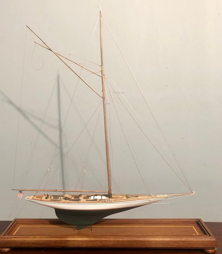 Hand Modeled Clipper Ship in a Glass and Bronze Case In Good Condition For Sale In Stamford, CT