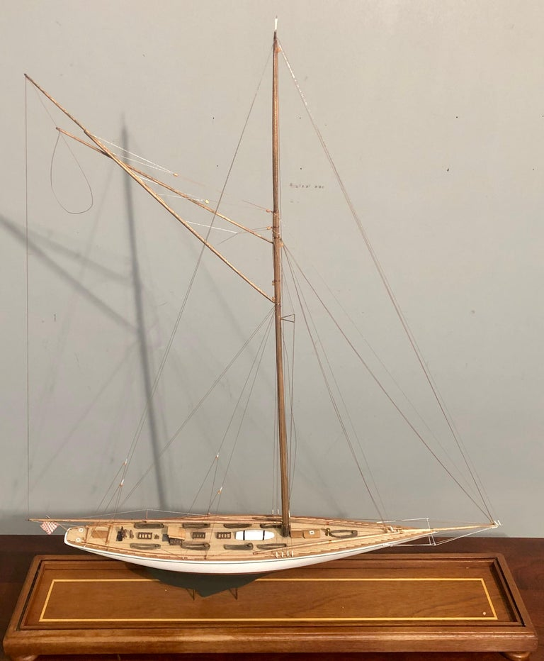 Early 20th Century Hand Modeled Clipper Ship in a Glass and Bronze Case For Sale