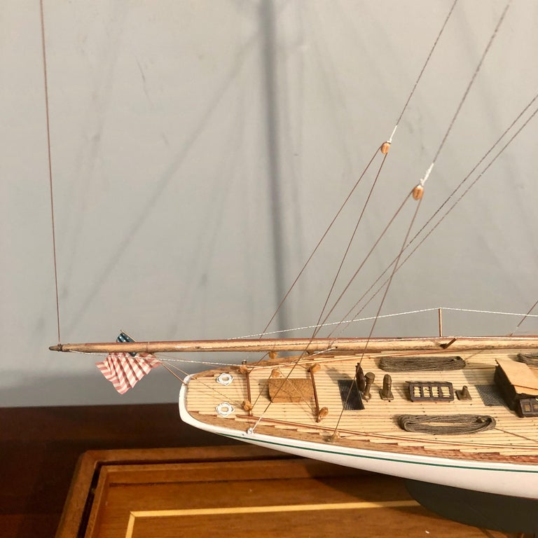 Wood Hand Modeled Clipper Ship in a Glass and Bronze Case For Sale
