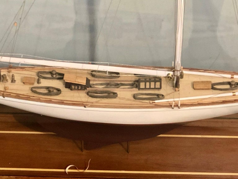 Hand Modeled Clipper Ship in a Glass and Bronze Case For Sale 2