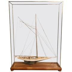 Hand Modeled Clipper Ship in a Glass and Bronze Case