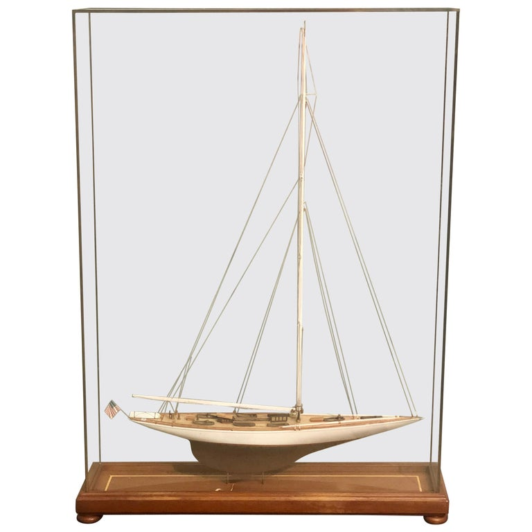Hand Modeled Clipper Ship in a Glass and Bronze Case For Sale
