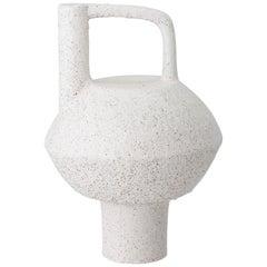 Hand Molded White Terracotta Assymetric Brutalist Style Pedestal Vase