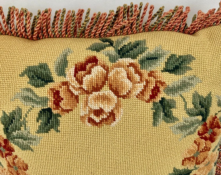Victorian Vintage Hand Needlepointed Cushion/Pillow with Decorative Floral Motif For Sale