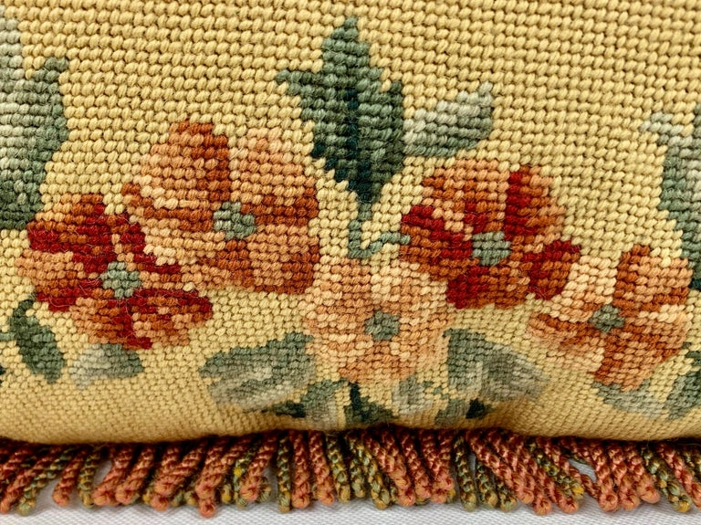 English Vintage Hand Needlepointed Cushion/Pillow with Decorative Floral Motif For Sale