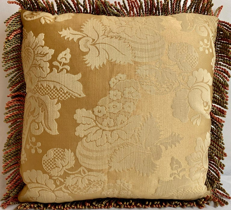 Hand-Crafted Vintage Hand Needlepointed Cushion/Pillow with Decorative Floral Motif For Sale