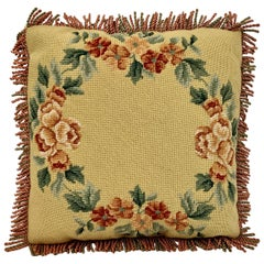 Hand Needlepointed Vintage Cushion/Pillow with Decorative Floral Motif