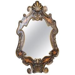Hand-Paint Decorated Gilded Venetian Italian Wall Mirror, circa 1940