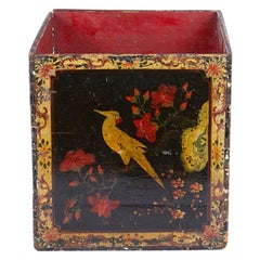 Hand Painted 19th Century Large Wooden Cachepot