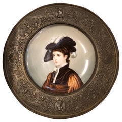 Hand Painted 19th Century Porcelain Plate Framed in a High Relief Bronze Frame