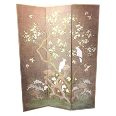 Hand Painted 3 Panel Screen by Robert Crowder