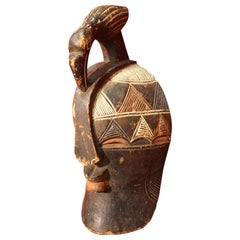 Hand Painted African Wooden Mask, 20th Century
