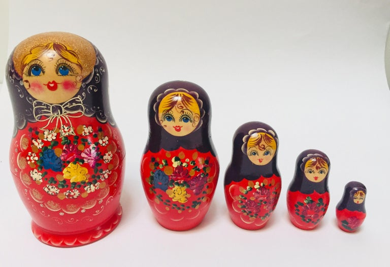 Folk Art Hand Painted and Carved Nesting Matryoshka Russian Dolls For Sale