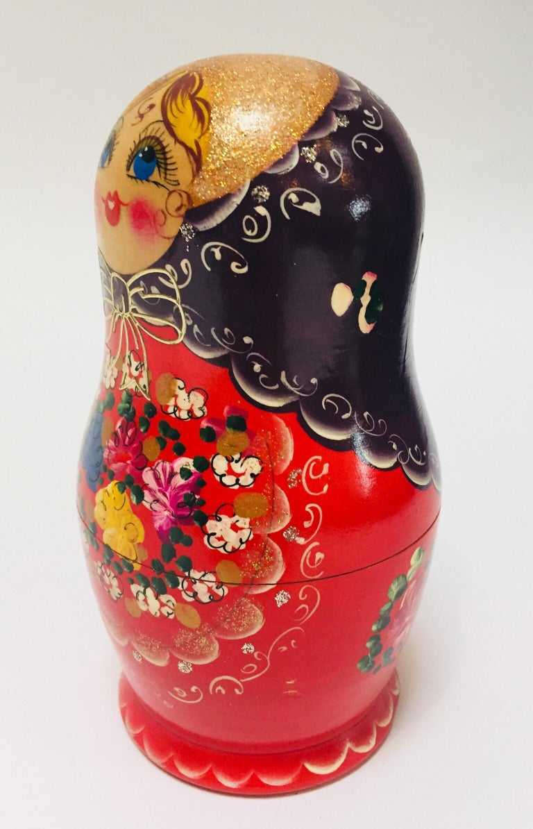 Beech Hand Painted and Carved Nesting Matryoshka Russian Dolls For Sale