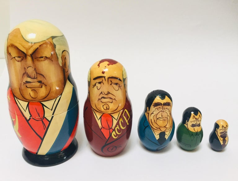Hand Painted and Carved Nesting Matryoshka Soviet Politicians USSR, 1990s For Sale 3
