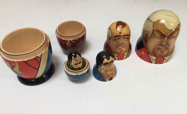 Hand Painted and Carved Nesting Matryoshka Soviet Politicians USSR, 1990s For Sale 11