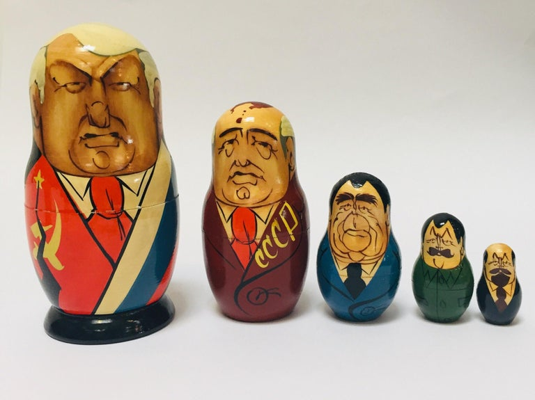Folk Art Hand Painted and Carved Nesting Matryoshka Soviet Politicians USSR, 1990s For Sale