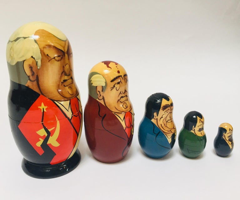 Hand-Crafted Hand Painted and Carved Nesting Matryoshka Soviet Politicians USSR, 1990s For Sale