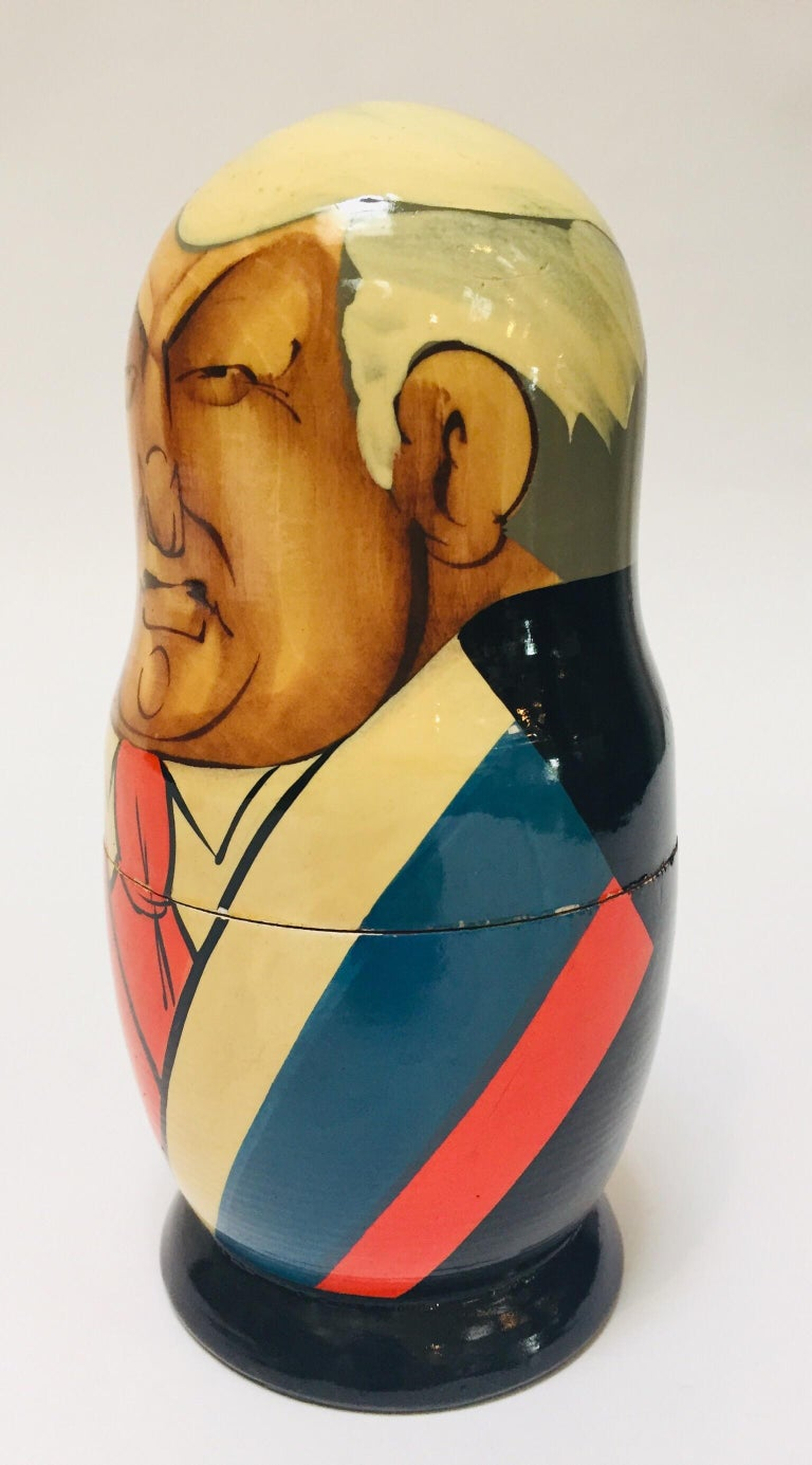 20th Century Hand Painted and Carved Nesting Matryoshka Soviet Politicians USSR, 1990s For Sale