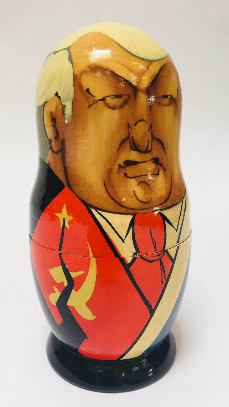 Beech Hand Painted and Carved Nesting Matryoshka Soviet Politicians USSR, 1990s For Sale