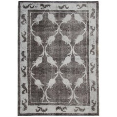 Hand Painted and Handwoven Vintage Oriental Turkish Rug; Black, Grey and White