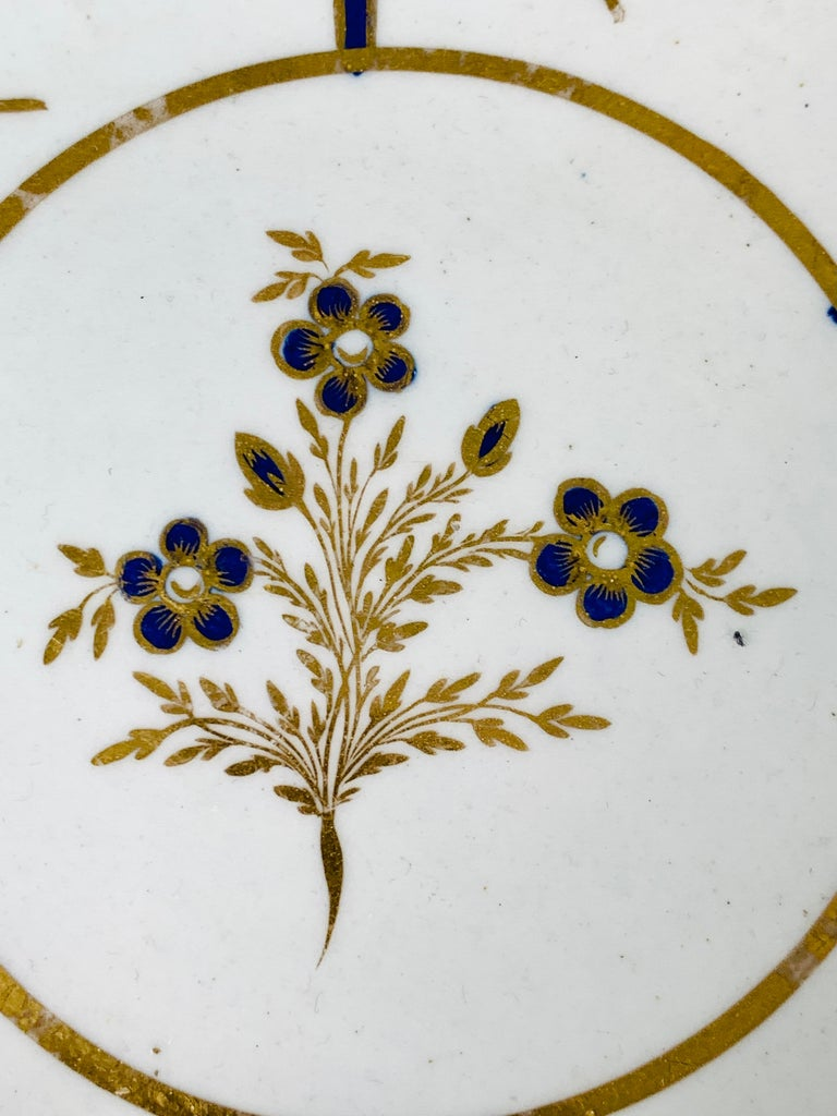 George III Hand-Painted Antique Blue & Gold English Porcelain Dish 18th Century c-1780 For Sale
