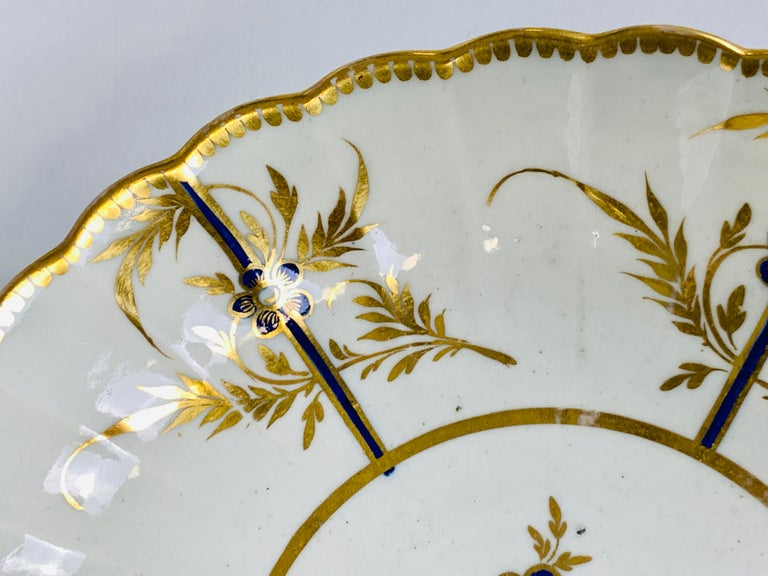 Hand-Painted Antique Blue & Gold English Porcelain Dish 18th Century c-1780 For Sale 1