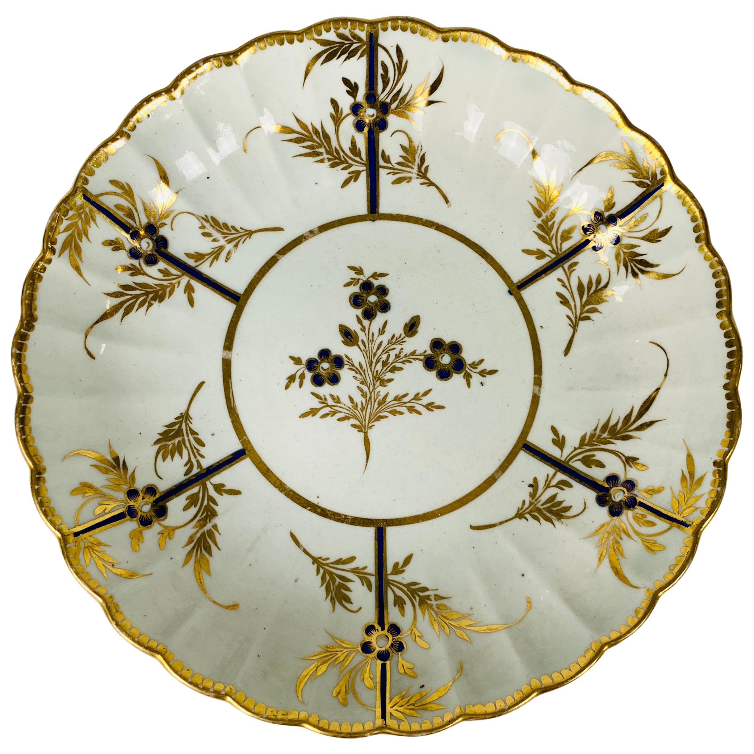 Hand-Painted Antique Blue & Gold English Porcelain Dish 18th Century c-1780