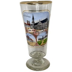 Hand Painted Antique Germany Beer Glass City View Munich, 1900s