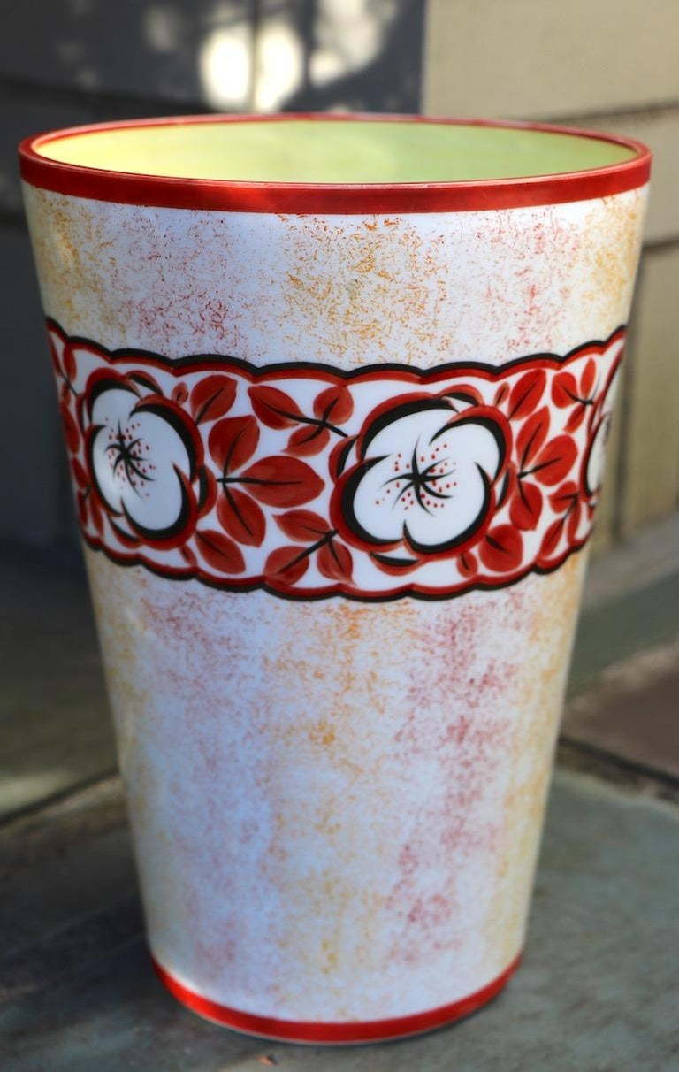 Hand-Painted Hand Painted Art Deco Czechoslovakian Flower Vase For Sale