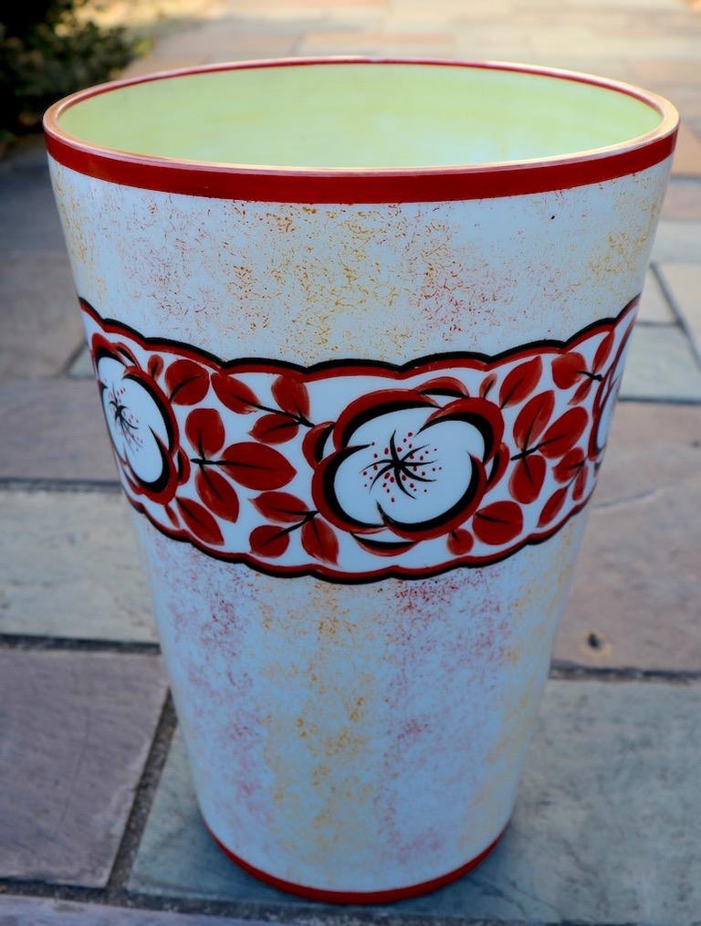 Hand Painted Art Deco Czechoslovakian Flower Vase For Sale 2